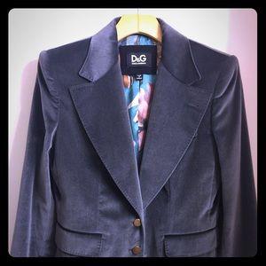 Authentic D&G gray velvet blazer jacket